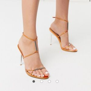 ASOS Design | Heeled sandals in copper metallic